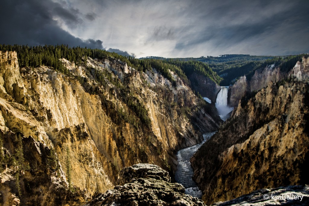 Lower Falls with Clouds